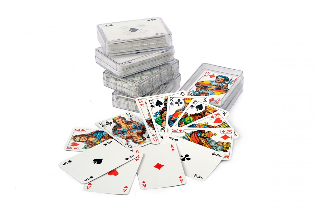 A set of playing cards in plastic case